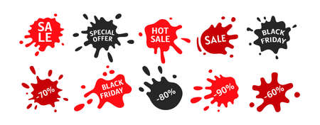Black Friday sale splash shape set. Template decorative shapes liquids, black and red ink splatter collection. Stain ink collection, paint blob, spatters cartoon style. Vector illustration
