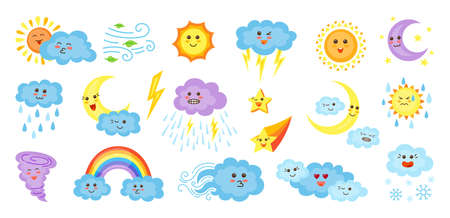 Weather cartoon characters set. Cute kawaii style emoticons sun and clouds, rain or snow, lightning, moon, star, rainbow. Meteorological signs with faces. Funny symbols forecast weather. Vector 向量圖像