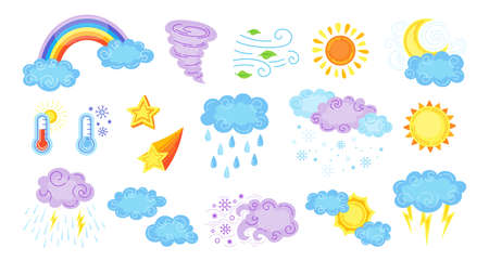 Weather cartoon set. Cute hand drawn sun and clouds, rain or snow, lightning, moon and star, rainbow, thermometer. Symbols of forecast weather. Meteorological infographics signs. Vector illustration