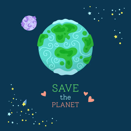 Planet Earth cartoon illustration. Colorful abstract world map. Save the planet. Ecology environment and safety design. Vector flat design illustration Illusztráció