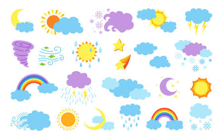 Weather cartoon set. Flat sun and clouds, rain or snow, lightning, moon and star, rainbow and thermometer. Symbols forecast weather. Vector bright colored collection. Meteorological infographics signs