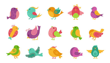 Bird with patterns, cartoon set. Colorful little cute birds, different poses, flying. Hand drawn flat abstract icon happy character. Modern trendy vector illustration
