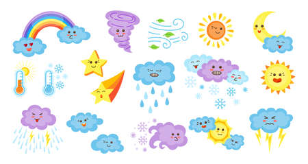 Weather cartoon characters set. Cute kawaii style emoticons sun and clouds, rain or snow, lightning, moon, star, rainbow. Symbols forecast weather. Meteorological signs with faces. Vector illustration Ilustração Vetorial