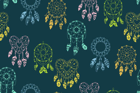 Boho seamless pattern. Dreamcatcher with feathers dark background. Ethnic design, boho chic. Textile bird feathers, talisman sweet dream. Native American indian design. Ethnic bohemian vector Vettoriali