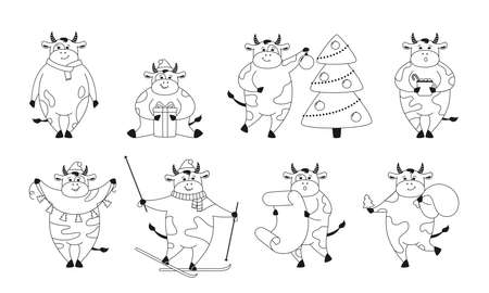 Christmas bull outline set. New Year symbol, horoscope sign. Cartoon cow, Buffalo, calf. Collection linear black farm character witn gift hat, garland. Happy New year, merry Christmas. Animal vector 向量圖像