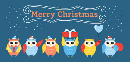Greeting Christmas card, owl in row. Cartoon bird owls in different poses. Merry Christmas. Hand drawn animal character holidays vector