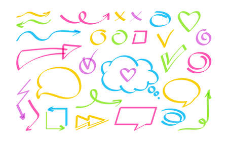Business design element, hand drawn arrow, speech bubble set. Sign bright highlighter collection different icon. Cross, check mark, interrogative and exclamation. Shapes objects vector illustration Stock Illustratie