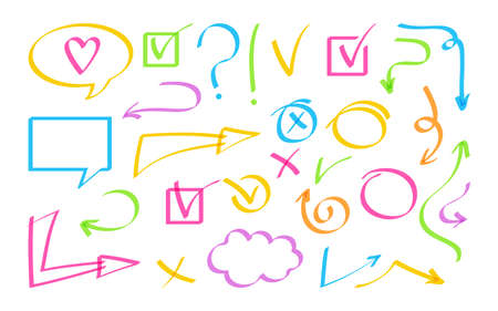Arrow and speech bubble hand drawn design element set. Sign bright highlighter collection icon. Cross, check mark, interrogative and exclamation. Business shapes objects vector illustration