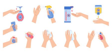 Coronavirus infographic, hands use spray sanitizer, wash soap, against covid virus cartoon set. Coronavirus flat disinfection sanitizer bottles, antiseptic gel collection. Isolated vector illustration