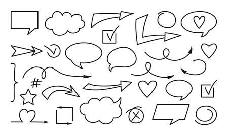 Arrow and speech bubble black line doodle set. Sign hand drawn collection different outline icon. Business cross, check mark design element. Shapes objects vector illustration
