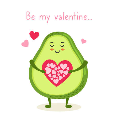 Happy valentines Day postcard. Avocado with heart card, be my Valentine. Funny cartoon character, green kawaii avocado. Romantic cute banner vector illustration printing cards, poster
