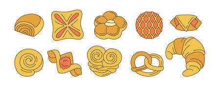 Sweet buns doodle cartoon icon set. Line design menu bakery symbol, jam puff, bun. Bakery goods and wicker pretzel, bagel, croissant pastry, roll. Stylish icon modern vector illustration
