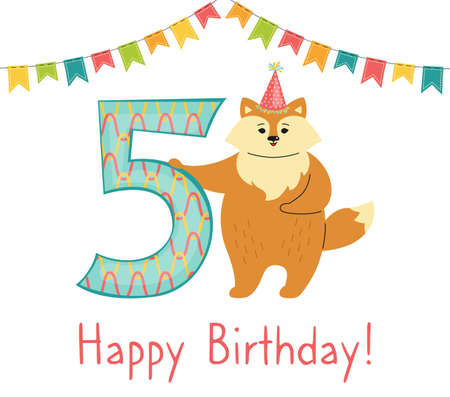 Greeting Happy Birthday card, Fox with number five. Hand drawn red fox cartoon character in hat. Congratulate child 5th birthday. Funny flat Animal Template Isolated vector illustration
