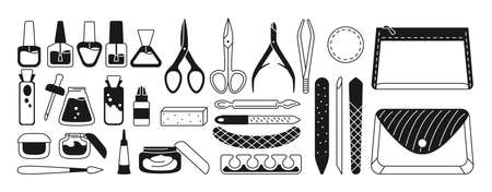 Manicure equipment monochrome set. Black glyph polishing nails, polish, file, tweezers, hand cream, scissors, oil, nippers. Manicure tools design elements beauty and Spa concept trendy vector