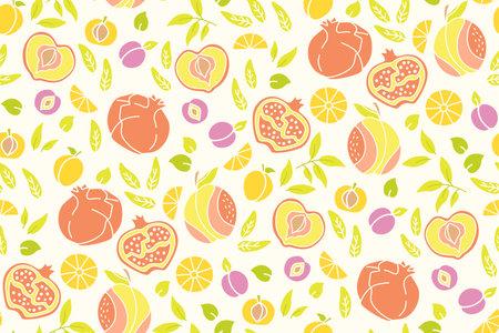 Exotic hawaiian fruit line seamless pattern. Pomegranate, orange, peach apricot, plum wallpaper tropical summer texture. Hand drawn fruit textiles, wallpaper, webdesign. Isolated vector illustration Vektorové ilustrace