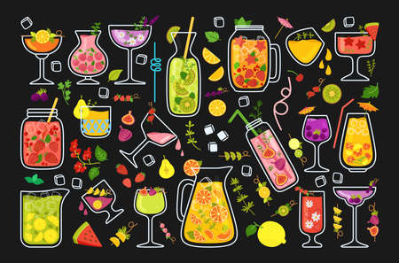 Tropical cocktails, summer juice cartoon set. Strawberry Lemonade and Tea, Mojito and Orange fresh or Smoothie menu. Glass drinks and fruits. Flat design trendy vector illustration on black background