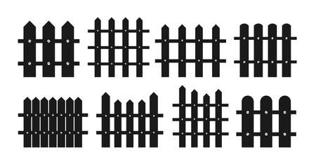 Fence black silhouette flat cartoon set. Rural wooden fences, pickets garden wood wall house concepts. Hand drawn picket, pasture, fence and wall, collection. Isolated vector illustration
