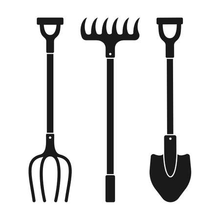 Shovel, pitchfork and rake cartoon black glyph set. Work tool for outdoor activities digging symbol. Rural gardening, Construction equipment collection. Hand drawn garden concept vector illustration