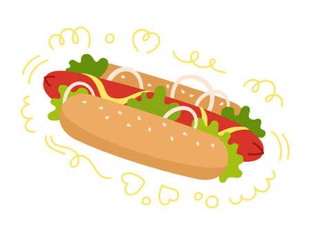 Hotdog American Fast food. Hand drawn cartoon hot dog bun, salad and onions. Menu delicious fast food for menu, poster, card, banner, flyer. Tasty unhealthy lunch. Vector illustration