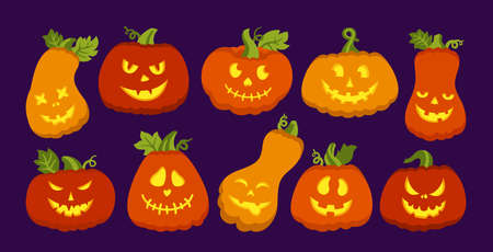 Halloween symbol Pumpkin glows inside flat cartoon set. Pumpkins with scared or smiley faces, creepy grin, character holiday Happy Halloween. Cute funny muzzle. Scary spooky devils eyes vector