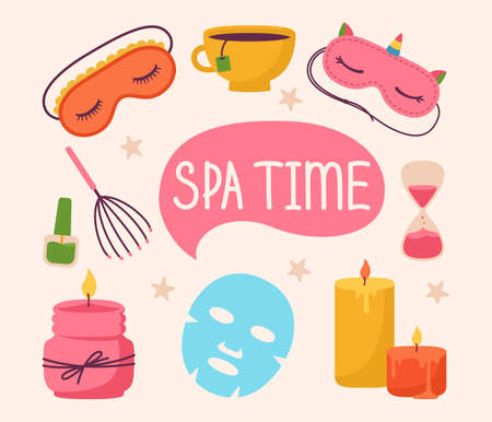 Spa and beauty care salon stickers cartoon set. Spa aromatic candle, sleep mask and hourglass, tea cup. Skin care and natural treatment, me time concept. Female body health cute vector