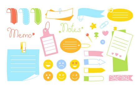Notebook paper sticky note kawaii bright set. Blank notes with elements of planning, emoji sticker. Abstract graphic notepad curled corners, push pin. Various tag business office. Isolated vector