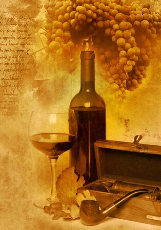 Vintage wine bottle and glass photo