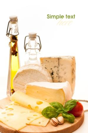 cheese plate: various types of cheese