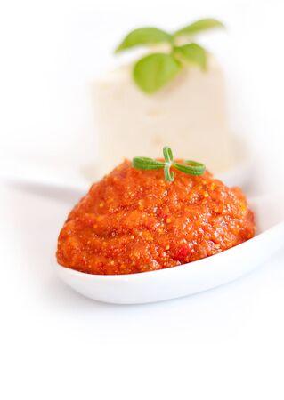 tomato catsup: Tomato paste and basil