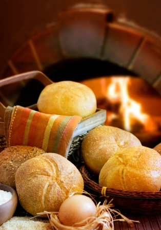 traditional goods:  Bakery Bread on oven