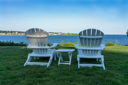 On the grounds of Chandler House in Newport Rhode Island overlooking First Beach