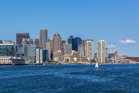 On a trip to look at the whales this is the Boston skyline