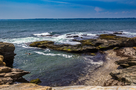Hidden beach at Beavertail Rhode Island where you can swim and be at peace Banco de Imagens