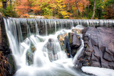 Hunts Mill waterfall during fall foliage season