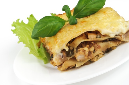 lasagna on white plate Stock Photo