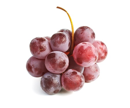 Close up of a cluster of red grapes isolated on white background Stock Photo