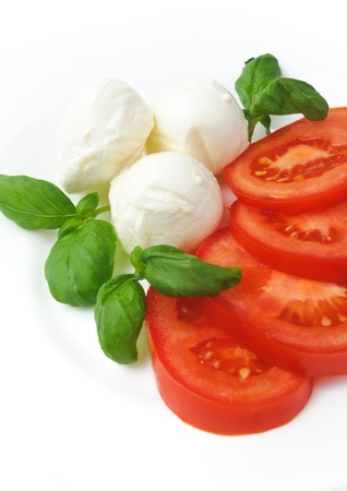 Mozzarella cheese with tomatoe and basil