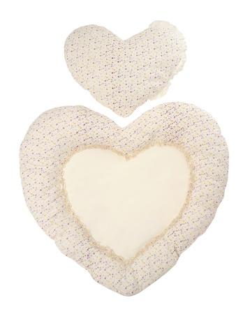 Pillow beige heart on white photo