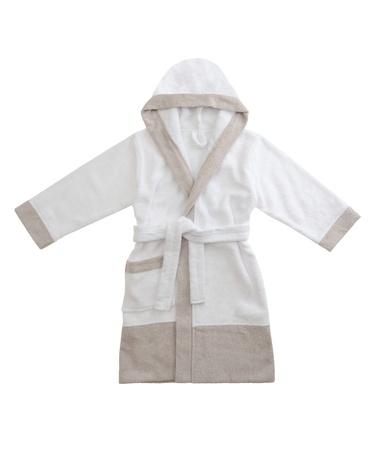 white bathrobe isolated on white background photo
