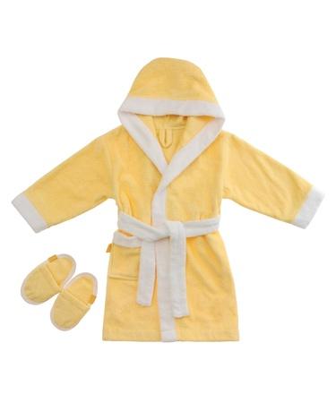 yellow bathrobe isolated on white background Stock Photo
