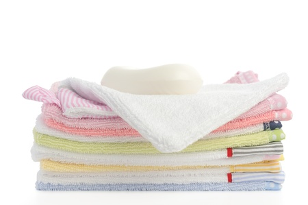 stack of towels isolated on white background Stock Photo