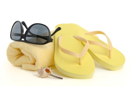 beach items isolated on white background Stock Photo