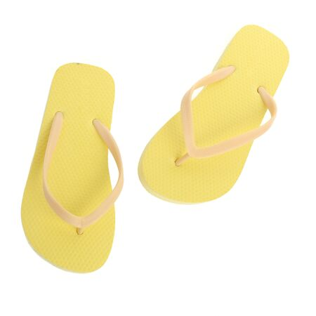 footware: Yellow Pair of Flip Flops Isolated On White