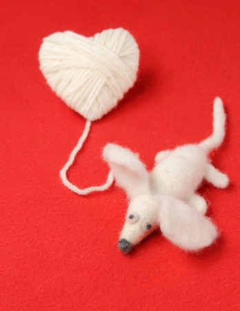 Heart of knitting with cute felt mouse photo