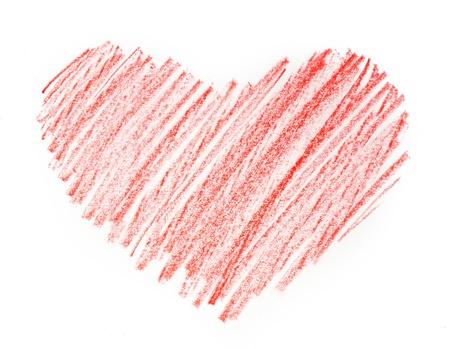 red heart painted in watercolor on white background Stock Photo - 17300014