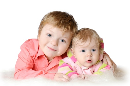 Adorable two children - sister and brother portrait Stock Photo