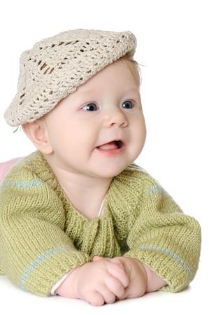 Portrait of five months old baby girl wearing knitted winter hat Zdjęcie Seryjne