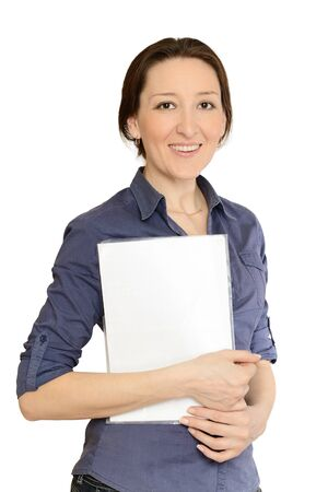 Attractive businesswoman holding documents  isolated on  white background