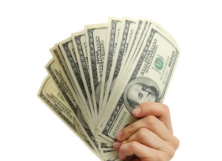 letra de cambio: mano de la mujer con dólares aislado en un fondo blanco
