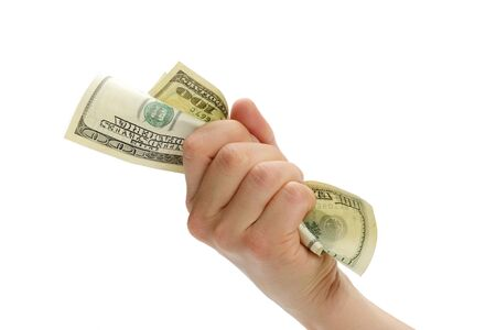 woman hand with dollars isolated on a white background photo